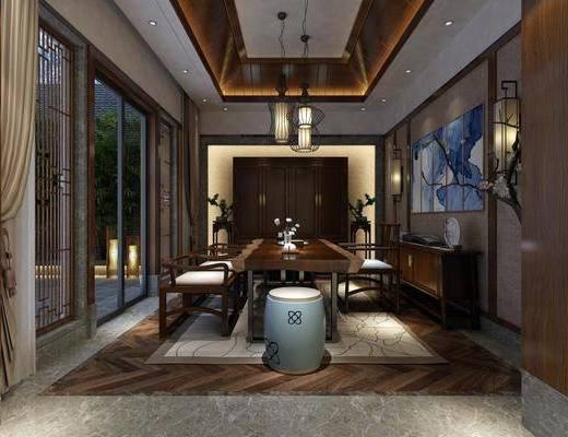 茶馆, 桌椅组合, 吊灯, 边柜, 装饰画
