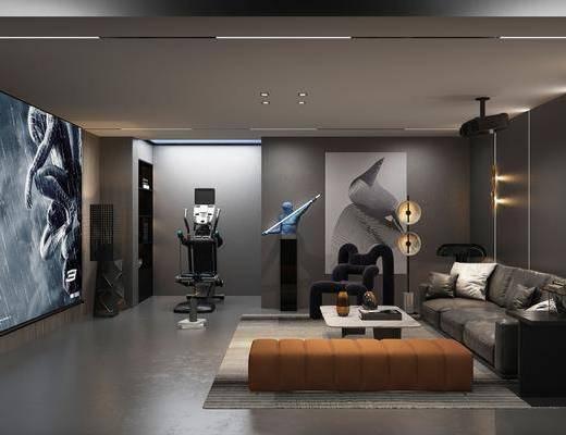 沙发组合, 吊灯, 茶几, 装饰画