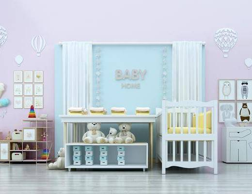 儿童床, 婴儿床, 装饰柜, 儿童玩具, 毛绒玩具组合, 装饰画, 挂画, 组合画, 动物画, 墙饰, 现代