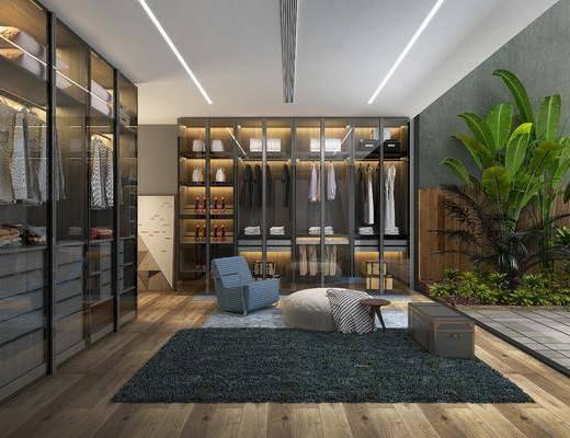衣帽间, 衣柜, 服饰, 盆栽, 单人沙发, 绿植植物, 现代