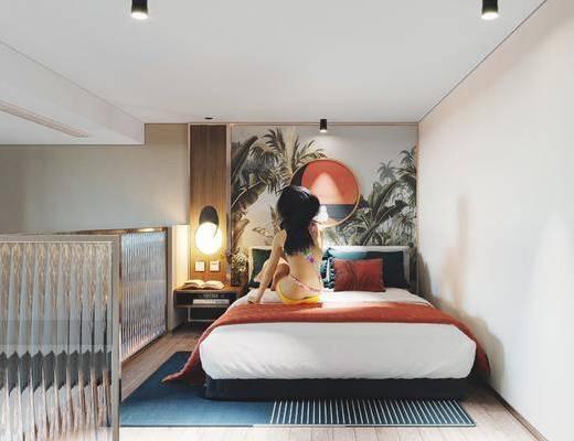样板房卧室, 双人床, 墙饰