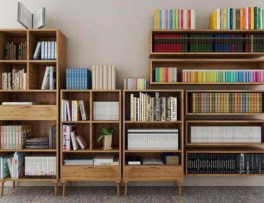 现代北欧书柜, 书本, 书籍, 柜子