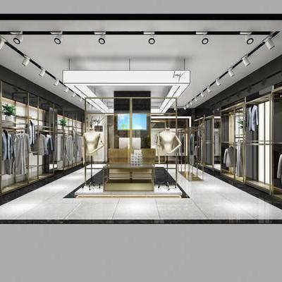 服装店, 男装店, 潮牌店, 品牌店, 现代, 售货架, 衣架, 衣服, 服装, 服饰