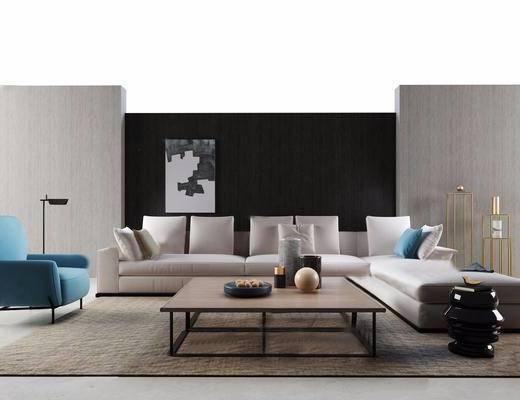 现代风格客厅沙发茶几组合模型, 现代, 沙发, 椅子, 茶几, 地毯, 装饰画