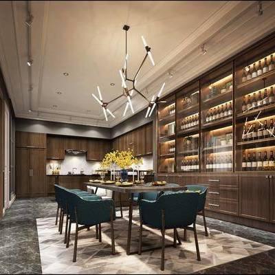 美式餐厅, 美式, 餐厅, 餐桌椅, 酒柜, 吊灯, 椅子