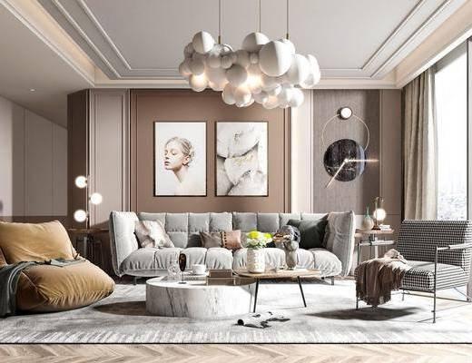 北欧客厅, 多人沙发, 边几, 吊灯, 地毯, 挂画