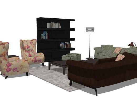 单椅, 沙发组合, 落地灯