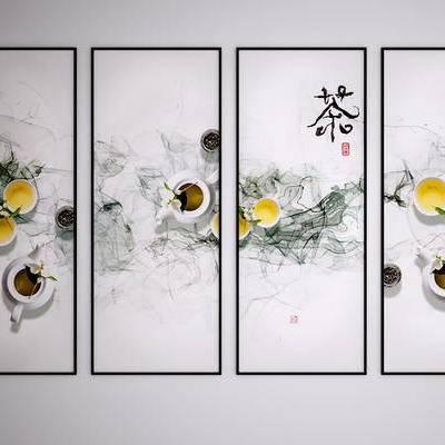 中式装饰挂画, 中式水墨画, 中式艺术画, 茶画