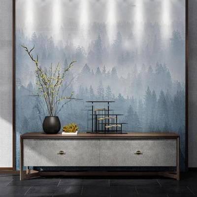 中式装饰柜, 装饰柜, 电视柜, 下得乐3888套模型合辑