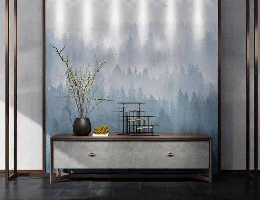 中式装饰柜, 装饰柜, 电视柜