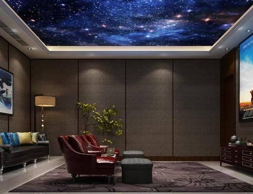 影音厅, 影视厅, 美式影音厅, 美式, 单椅, 单人沙发