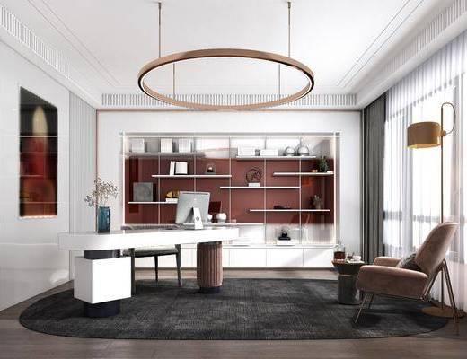 书桌, 吊灯, 装饰画, 单椅, 书柜