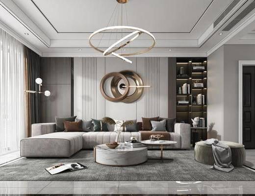 现代轻奢, 客厅, 多人沙发, 边几, 墙饰, 地毯, 摆件, 装饰画