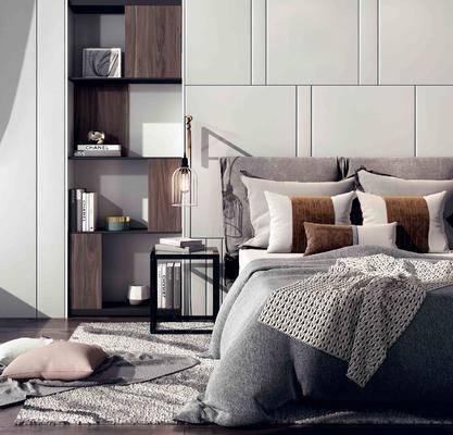 背景墙, 双人床, 边几, 吊灯, 书籍