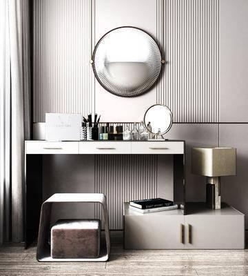 梳妆台, 摆件组合, 壁镜, 书籍