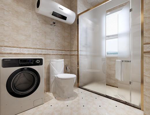 卫生间, 现代, 洗衣机, 电热水器, 马桶