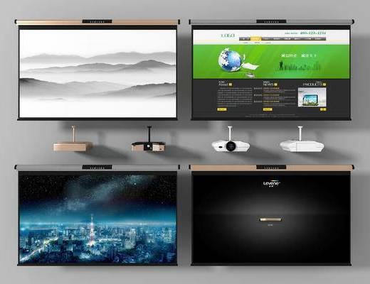 投影仪, 屏幕, 电视