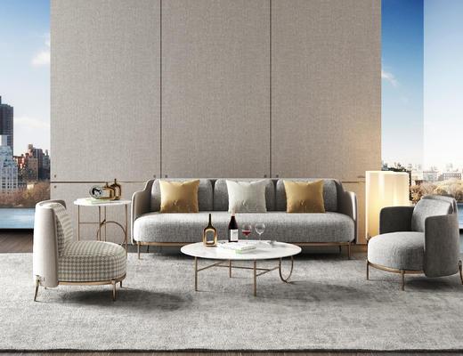 沙发, 休闲椅, 单人沙发, 茶几, 圆几