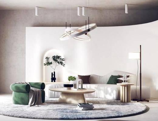 北欧客厅, 边几, 地毯, 异型沙发