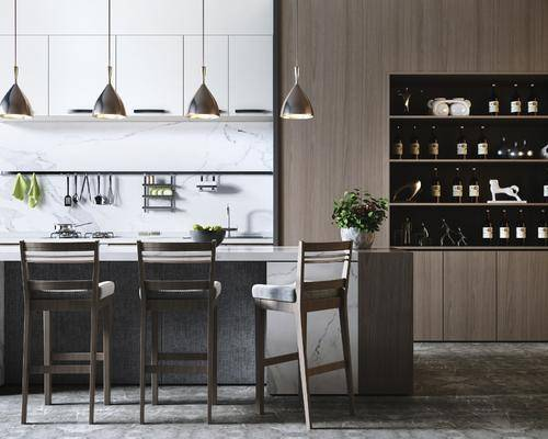 吧臺, 吧椅, 櫥柜, 吊燈, 廚具組合