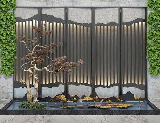 园艺景观, 假山松树, 荷花水景, 新中式