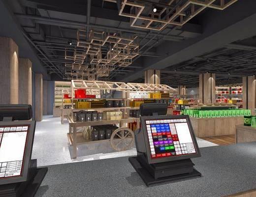 现代超市特产展示区, 现代, 货架, 商品, 超市, 百货