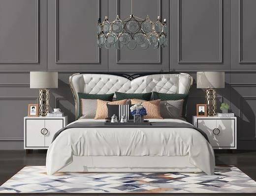 床具组合, 双人床, 床头柜, 台灯, 吊灯, 摆件, 装饰品, 陈设品, 欧式