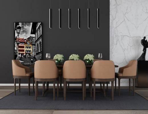 桌椅组合, 现代桌椅组合, 现代餐桌, 单椅, 摆件, 挂画, 花瓶花卉, 装饰品, 现代