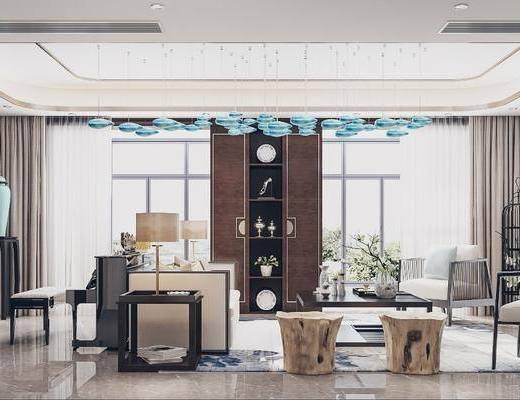 桌椅组合, 书柜, 吊灯, 单椅, 茶几, 摆件组合, 置物柜