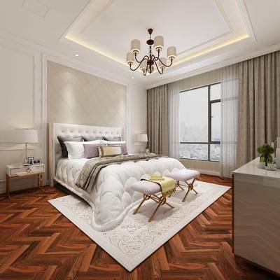 卧室, 简欧卧室, 床, 床头柜, 吊灯, 装饰柜, 脚踏