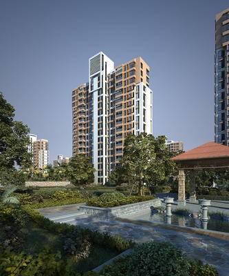 建筑外观, 凉亭, 绿植, 水池