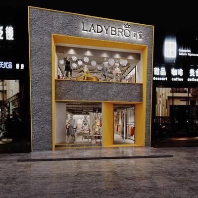 现代, 工业风, 服装店, 门头, 人偶, 衣架, 橱窗, 前台, 接待台, 收银台, 射灯, 衣服