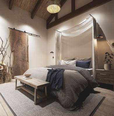 单人床, 床头柜, 吊灯, 床尾踏