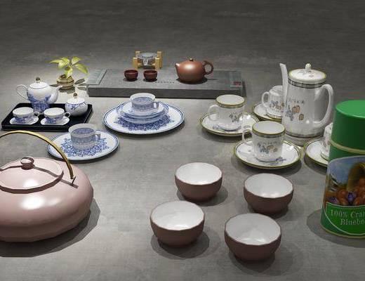 茶具组合, 摆件组合, 新中式