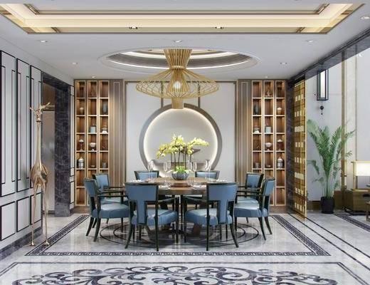 新中式餐廳3d模型, 餐桌椅, 擺件組合