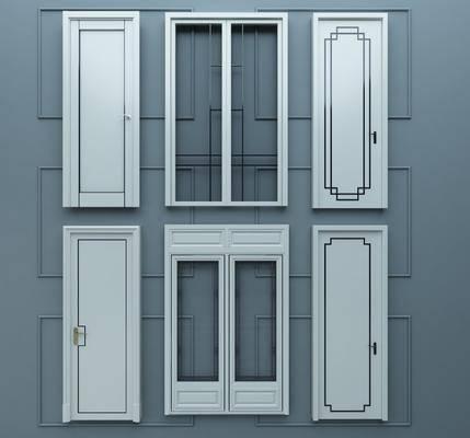 白色烤漆门, 平开门, 单开门, 推拉门组合, 实木房间, 现代