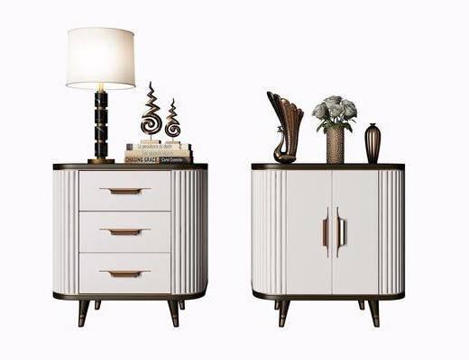 床头柜, 现代床头柜, 现代, 摆件组合
