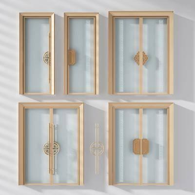 门, 新中式玻璃门, 双开门