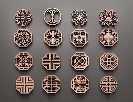 实木花格, 镂花, 雕花, 新中式, 双十一
