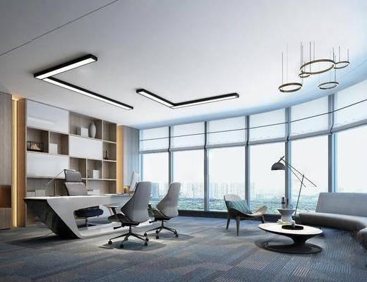 办公室, 办公桌, 沙发组合, 茶几, 落地灯
