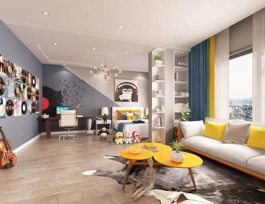 儿童房, 多人沙发, 茶几, 双人床, 书桌, 单人椅, 动物画, 玩具, 玩偶, 唱片, 台灯, 床头柜, 吊灯, 现代