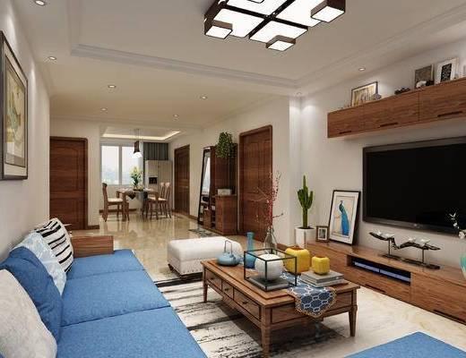 客厅, 现代, 简美, 沙发组合, 沙发茶几组合, 电视柜