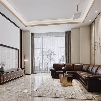 新中式, 会客厅, 会客室, 墙饰, 沙发, 茶几, 圆几, 台灯, 落地灯, 投影仪, 装饰柜, 矮柜, 花瓶, 摆件