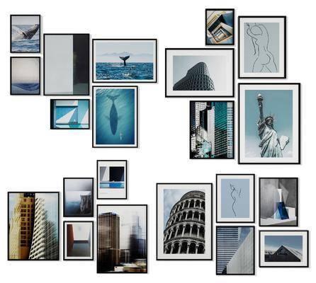 照片墙, 挂画组合, 组合画, 装饰画, 现代