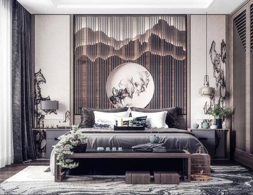 电视柜, 背景墙, 墙饰, 床头柜, 地毯