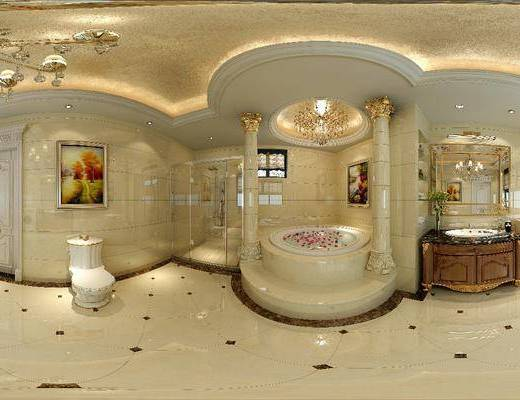 浴柜, 罗马柱, 雕花门, 浴缸, 洗浴组合, 马桶, 吊灯, 装饰画