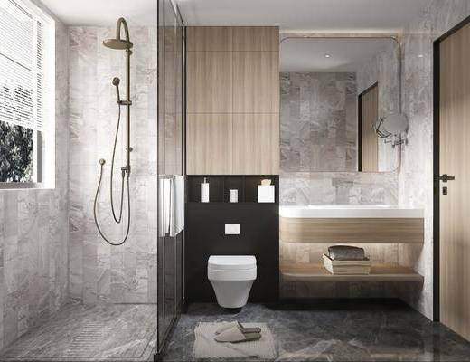 卫浴, 洗手盆, 壁镜, 摆件组合