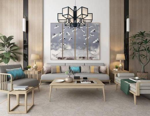 沙发组合, 多人沙发, 茶几, 边几, 台灯, 盆栽, 绿植植物, 单人沙发, 吊灯, 装饰画, 组合画, 躺椅, 摆件, 装饰品, 陈设品, 壁灯, 新中式