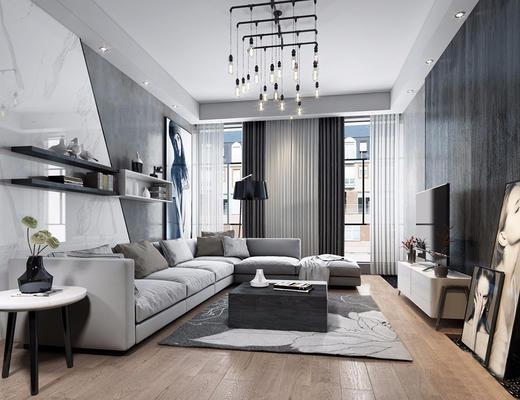 现代简约, 客厅, 吊灯, 沙发茶几组合, 陈设品组合