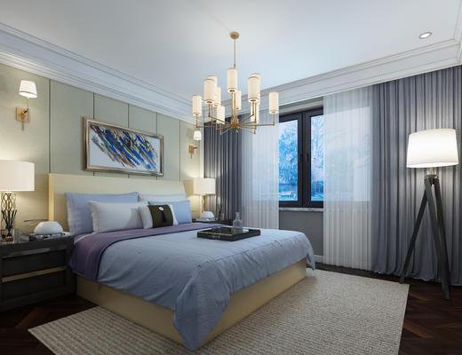 卧室, 现代, 现代卧室, 床, 吊灯